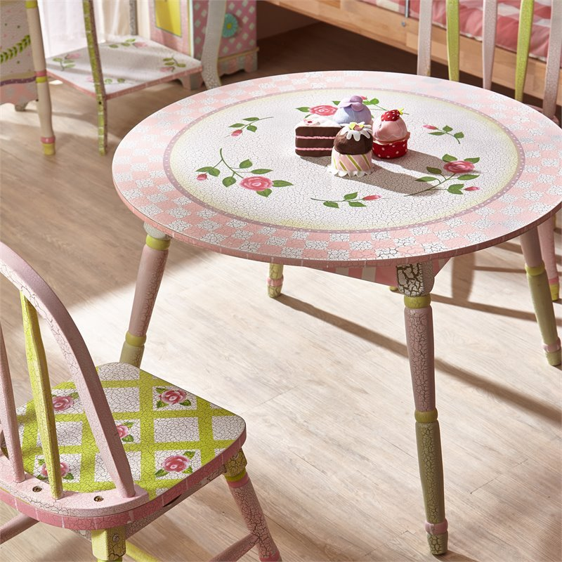 Fantasy Fields Crackled Rose Wooden Table in Pink Crackle