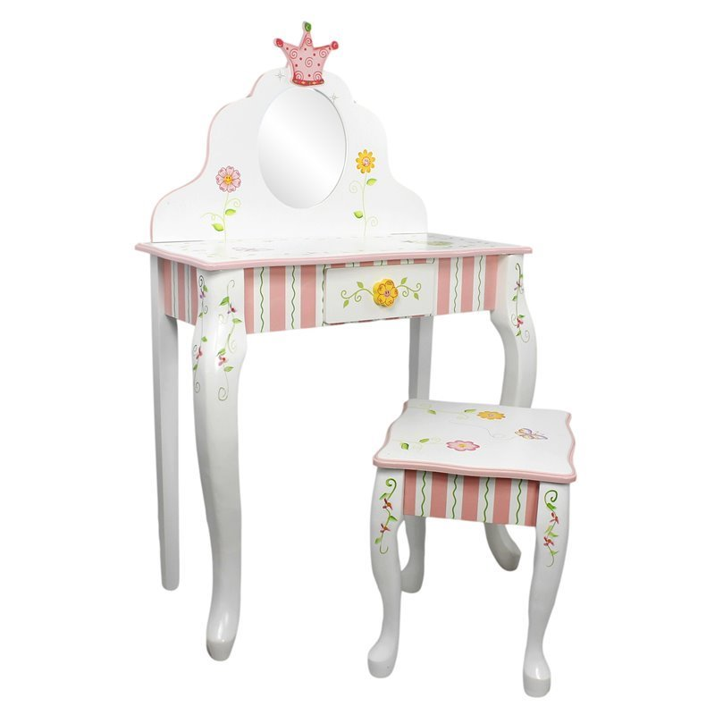 Fantasy Fields Hand Carved Princess and Frog Vanity Table and Stool Set