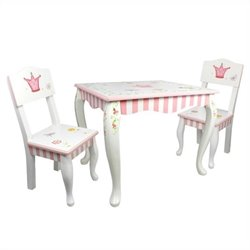 Fantasy Fields Hand Painted Princess and Frog Table and Set of 2 Chairs