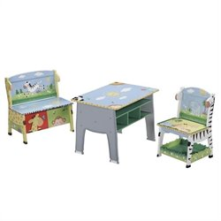 Fantasy Fields Hand Painted Sunny Safari Desk Chair and Bench Set