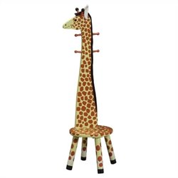 Fantasy Fields Hand Carved Safari Stool with Coat Rack in Giraffe