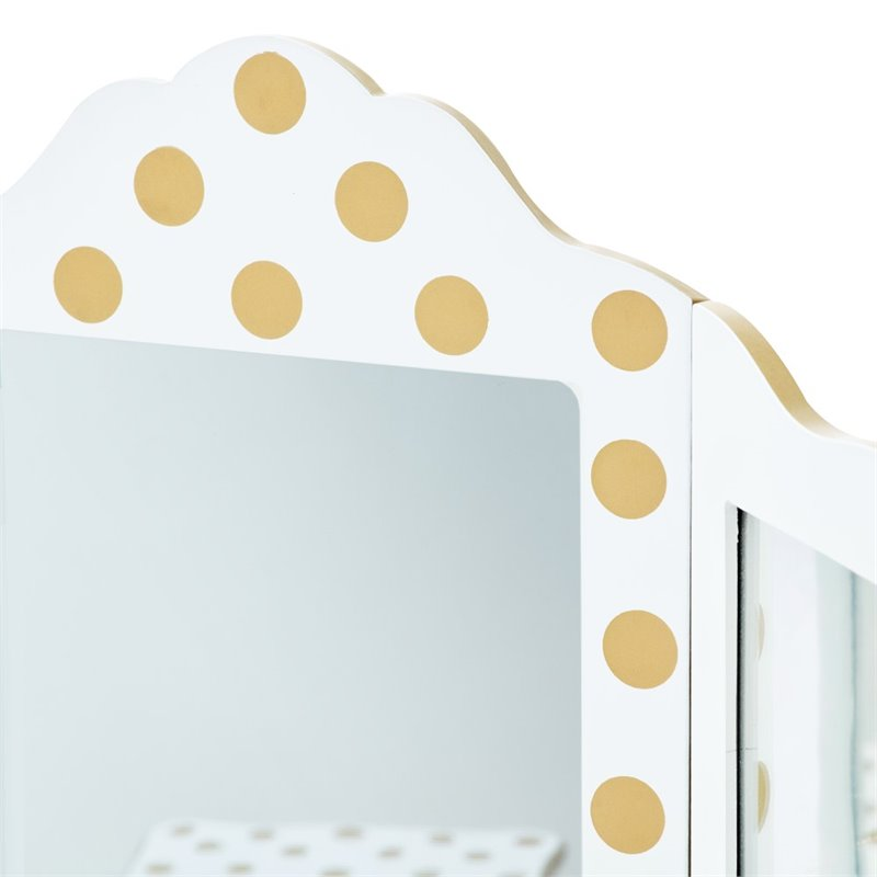 Teamson Kids Fashion Prints Polka Dot Gisele Toy Vanity Set in White and Gold