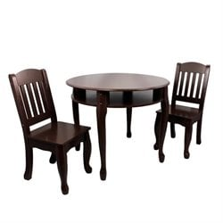 Teamson Kids Windsor Round Table and Set of 2 Chairs in Espresso