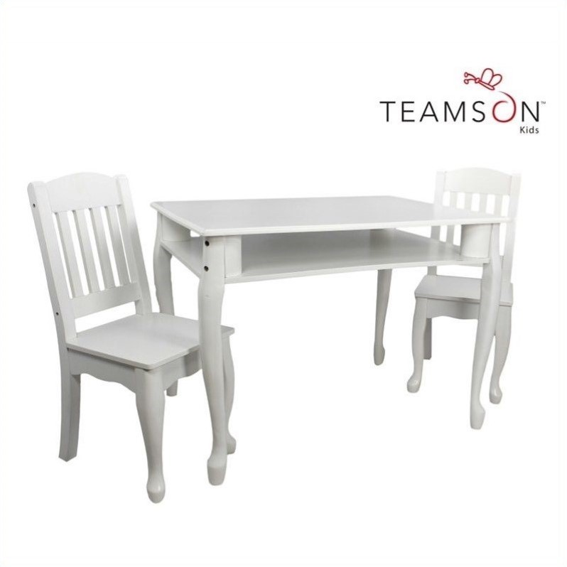 Teamson Kids Windsor Rectangular Table and Set of 2 Chairs in White