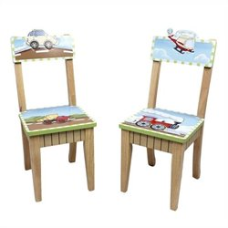 Fantasy Fields Hand Painted Transportation Set of 2 Chairs