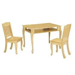 Teamson Kids Windsor Rectangular Table and Set of 2 Chairs in Natural