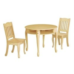 Teamson Kids Windsor Round Table and Set of 2 Chairs in Natural