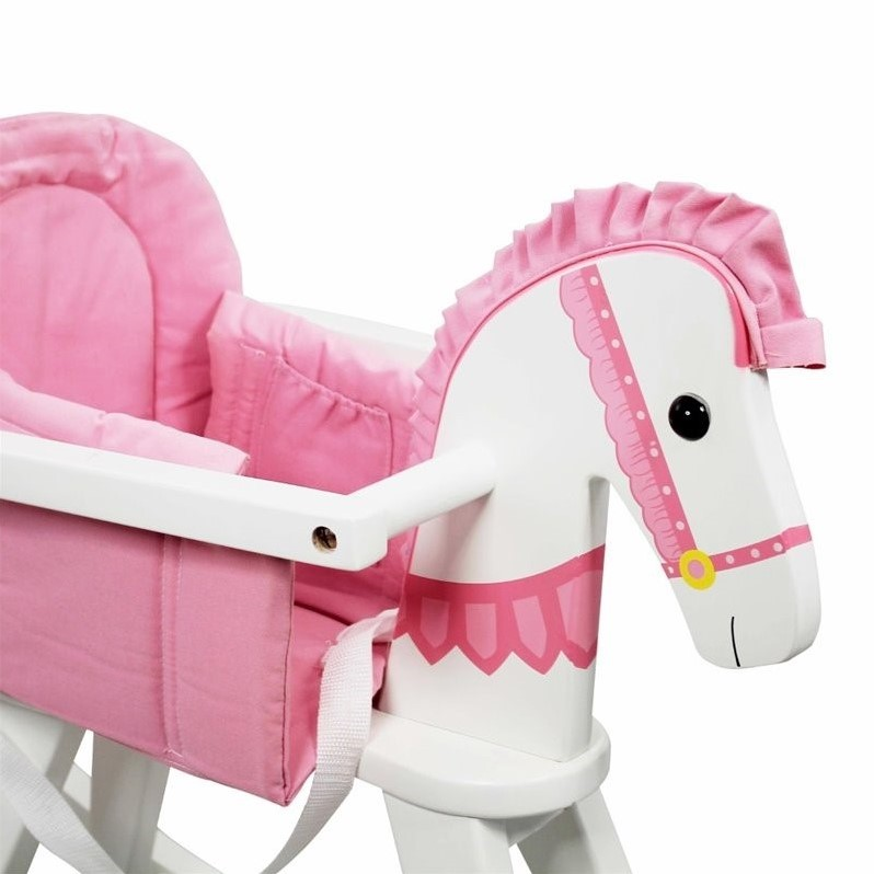 Fantasy Fields Hand Carved Safari White Rocking Horse with Pink Pad