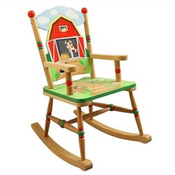 Fantasy Fields Hand Carved Happy Farm Rocking Chair