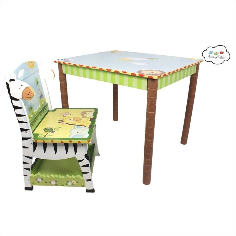 Fantasy Fields Hand Painted Sunny Safari Table and Set of 2 Chairs