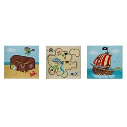 Fantasy Fields Pirates Island Wooden Wall Art Set