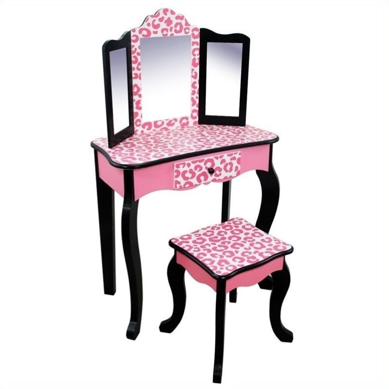 Teamson Kids Vanity Table And Stool Set In Black And Pink