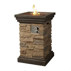 Teamson Peaktop Slate Rock Gas Fire Pit with Cover