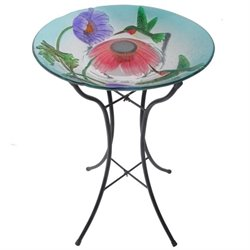 Teamson Peaktop Solar Hummingbird Glass Bird Bath