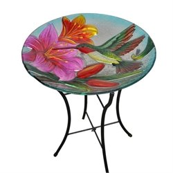 Teamson Peaktop Hummingbird Glass Bird Bath