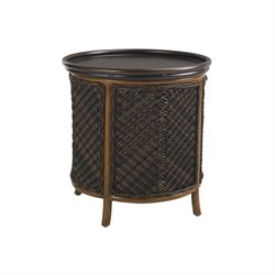 Tommy Bahama Island Estate Lanai Patio Tray End Table in Rich Tobacco