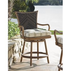 Tommy Bahama Island Estate Lanai Patio Swivel Counter Stool in Beige