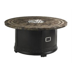 Tommy Bahama Kingstown Sedona Round Patio Gas Fire Pit in Ebony