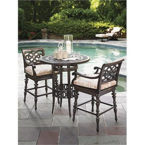 Tommy Bahama Black Sands 3 Piece Patio Pub Set in Deep Umber