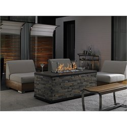 Tommy Bahama Tres Chic 8 Piece Patio Fire Pit Set in Natural Teak