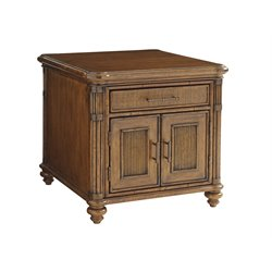 Tommy Bahama Bali Hai Mariner Storage End Table in Warm Brown