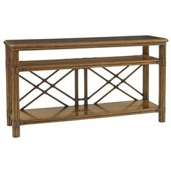 Tommy Bahama Bali Hai Islander Glass Top Console Table in Warm Brown