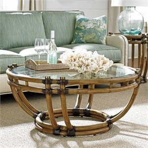 Tommy Bahama Twin Palms Turtle Beach Round Coffee Table in Brown