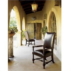 Tommy Bahama Home Kingstown Edwards Leather Arm Dining Chair in Tamarind