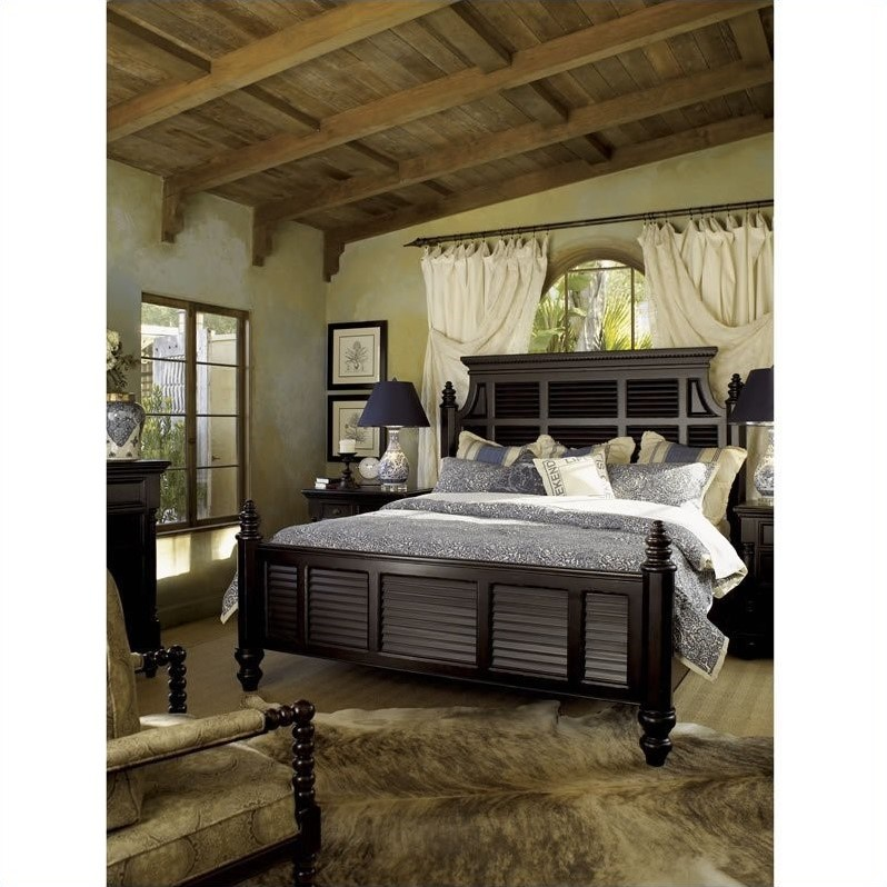Beau Tommy Bahama Home Kingstown Malabar Wood Panel Bed 4 Piece Bedroom Set In  Tamarind