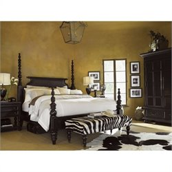 Tommy Bahama Home Kingstown Sovereign Wood Poster Bed 4 Piece Bedroom Set in Tamarind