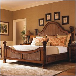 Tommy Bahama Home Island Estate Round Hill Panel Bed in Plantation