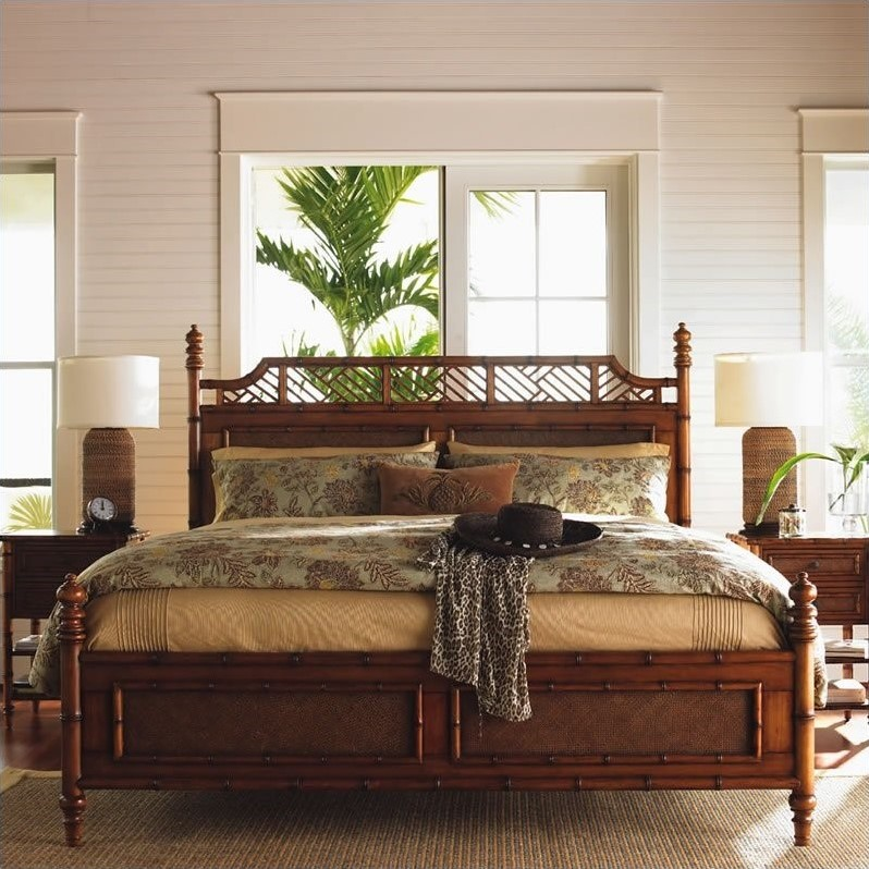 Tommy bahama home island estate west indies poster canopy for Plantation style bed