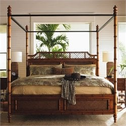 Tommy Bahama Home Island Estate West Indies Wood Poster Canopy Bed 5 Piece Bedroom Set