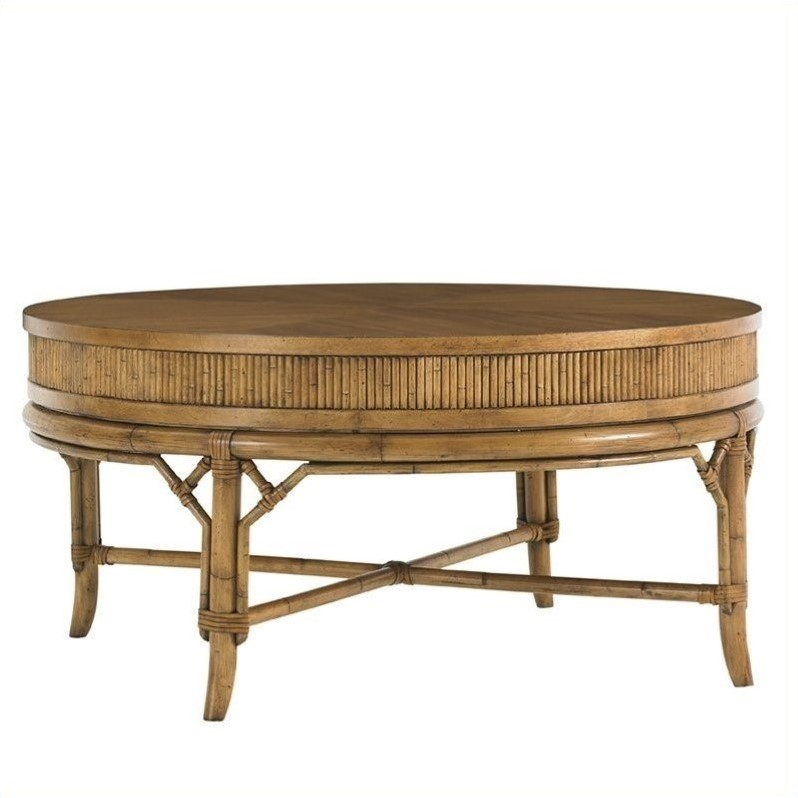 Tommy Bahama Home Beach House Oyster Cove Round Cocktail Table in Golden Umber