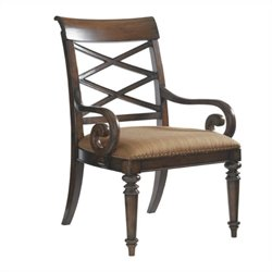Tommy Bahama Home Landara Cedar Point Fabric Arm Chair in Brown