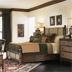 Tommy Bahama Home Landara Monarch Bay Poster Bed in Rich Tobacco - Queen