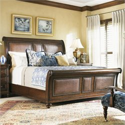 Tommy Bahama Home Landara Palmera Sleigh Bed in Rich Tobacco - Queen