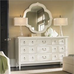 Tommy Bahama Home Ivory Key Mirror and Dresser Set in White