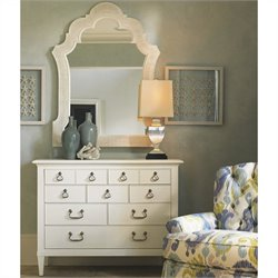Tommy Bahama Home Ivory Key Sandys Mirror and Elbow Beach Dresser Set in White