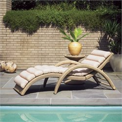 Tommy Bahama Home Aviano Wicker Chaise Lounge in Papaya