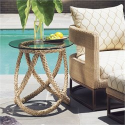 Tommy Bahama Home Aviano Round Glass Top Wicker End Table