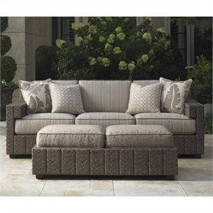 Tommy Bahama Home Blue Olive Wicker Sofa with Box Edge Cushions in Gray Tweed