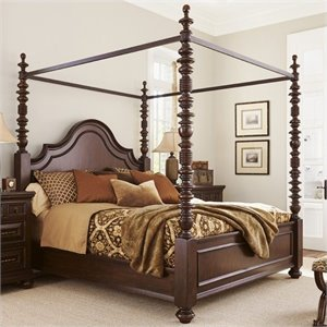 Tommy Bahama Home Kilimanjaro Candaleria Poster Bed in Distressed Tangiers
