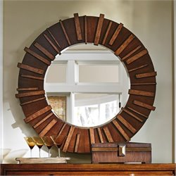 Tommy Bahama Island Fusion Kobe Round Mirror in Dark Walnut