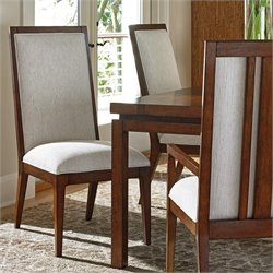 Tommy Bahama Island Fusion Natori Slat Back Fabric Side Chair in White