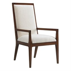 Tommy Bahama Island Fusion Natori Slat Back Fabric Arm Chair in White
