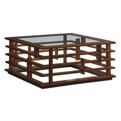 Tommy Bahama Island Fusion Nobu Square Glass Coffee Table in Brown