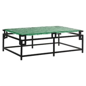 Tommy Bahama Island Fusion Hermes Reef Glass Coffee Table in Black