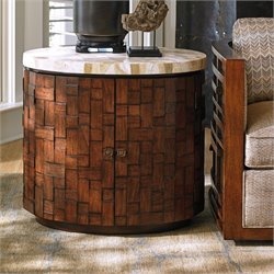 Tommy Bahama Island Fusion Banyan Oval Accent Table in Brown