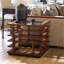 Tommy Bahama Island Fusion Nobu Square Glass End Table in Brown